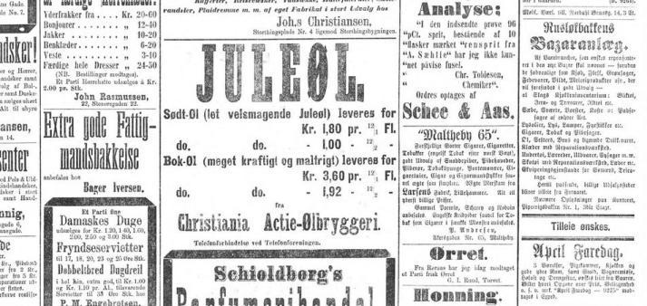 Reklame for Christiania Aktiebryggeri ifra 1881