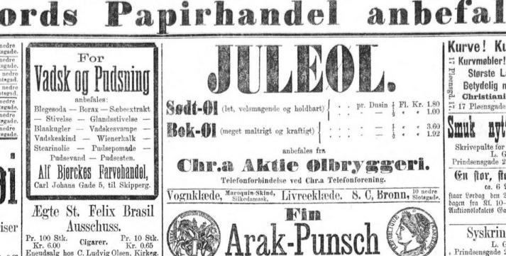 Reklame for Christiania Aktiebryggeri ifra 1882