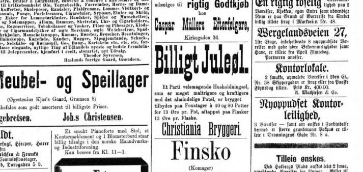 Reklame for Christiania Bryggeri ifra 1880