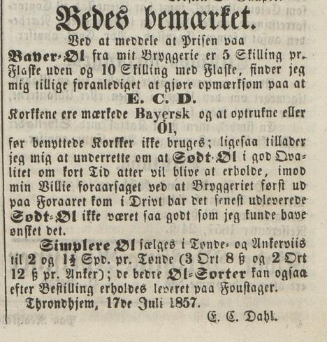 E. C. Dahls Bryggeris annonse for bayer