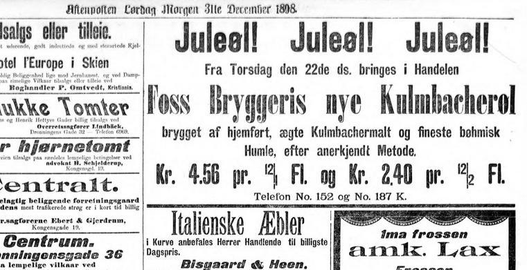 annonse for Kulmbacher-øl ifra Foss