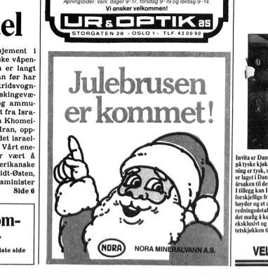 Reklame for julebrusen til Nora.
