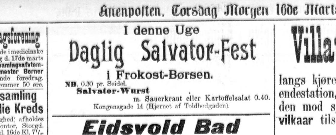 Salvator-Fest på Frokost-Børsen 1899