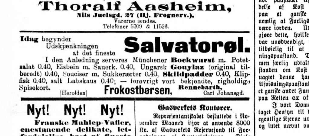 Salvator-Fest på Frokost-Børsen 1907