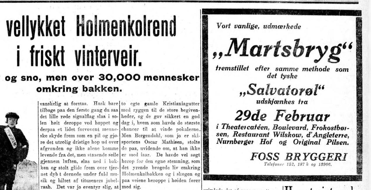 Salvator-Fest fra Foss Bryggeri 1916