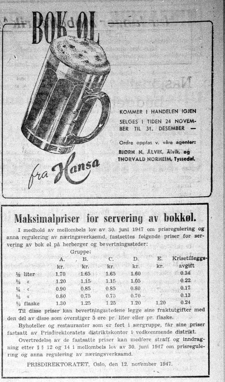 Bokkøl i 1947