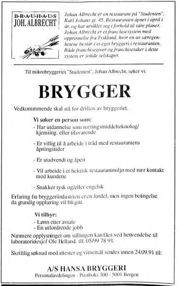 Utlysning av brygger for Studenten